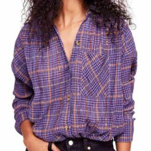 NEW!!! Free People Plaid Tunic Button-Up Shirt
